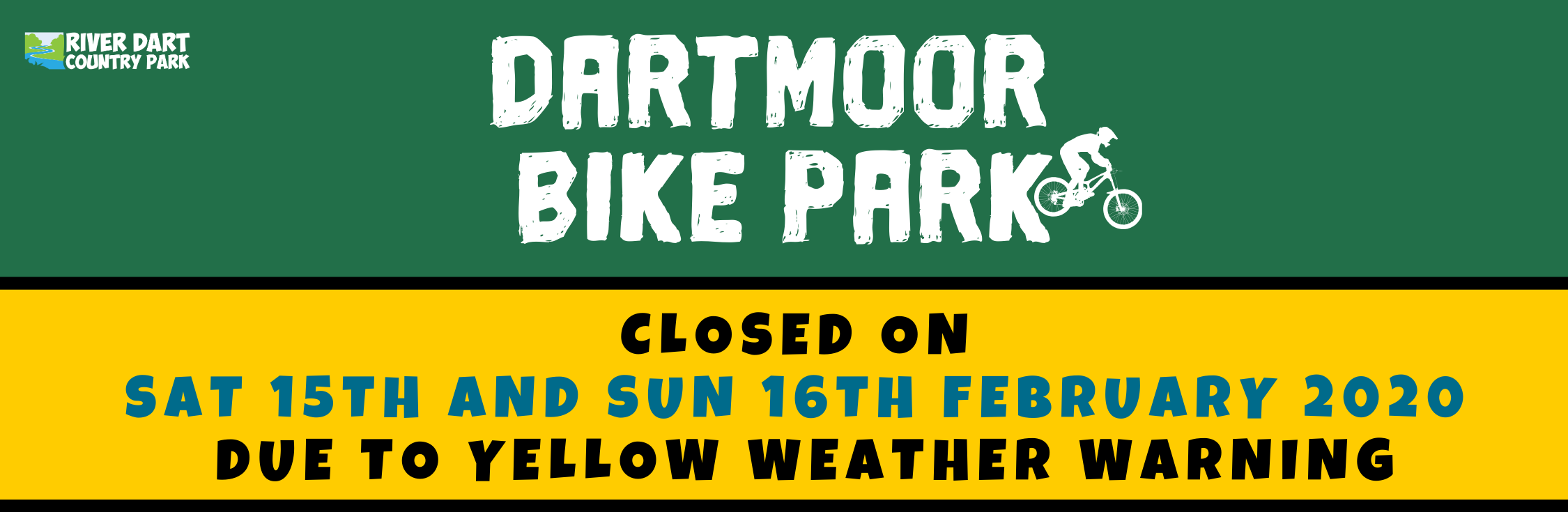Dartmoor Bike Park Closed Banner